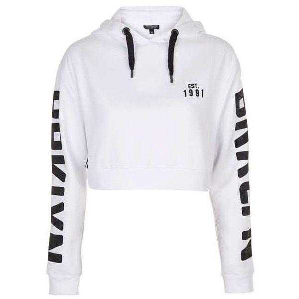 TopShop Brooklyn Sports Hoodie ($55) ❤ liked on Polyvore featuring tops, hoodies, crop top, logo hoodies, hooded sweatshirt, petite white tops and white hooded sweatshirt
