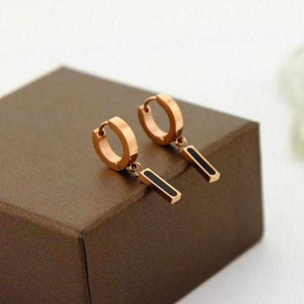 Black Bar Cute Circle Earrings For Women Gold… via Polyvore featuring jewelry, earrings, circular earrings, yellow gold earrings, circle earrings, gold earrings y gold jewelry