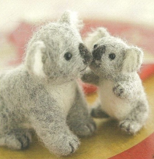 Kits mother koala wool felt poke fun DIY non-woven handmade doll