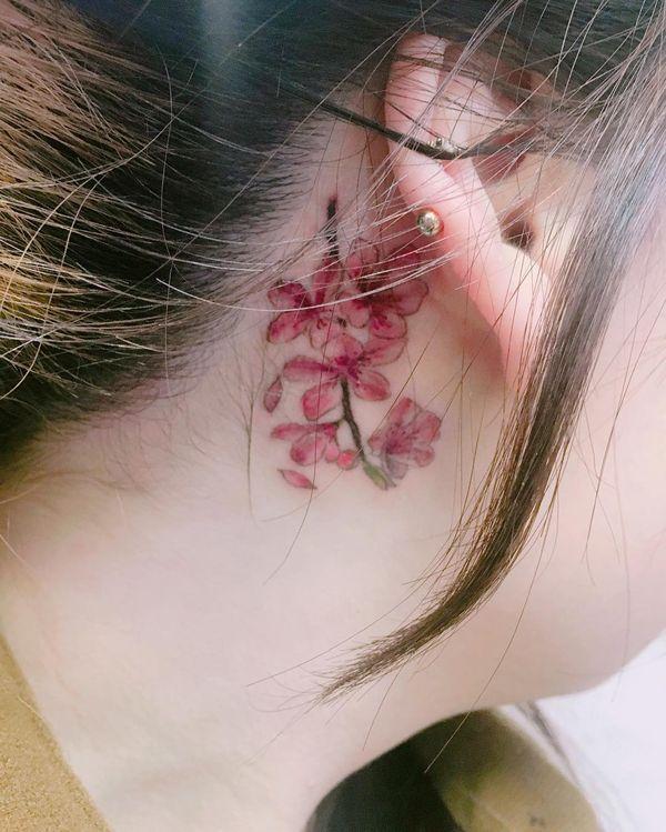 e3ecd474c9f41 Beauteous cherry blossom branch tattoo behind the ear | Tattoo ...