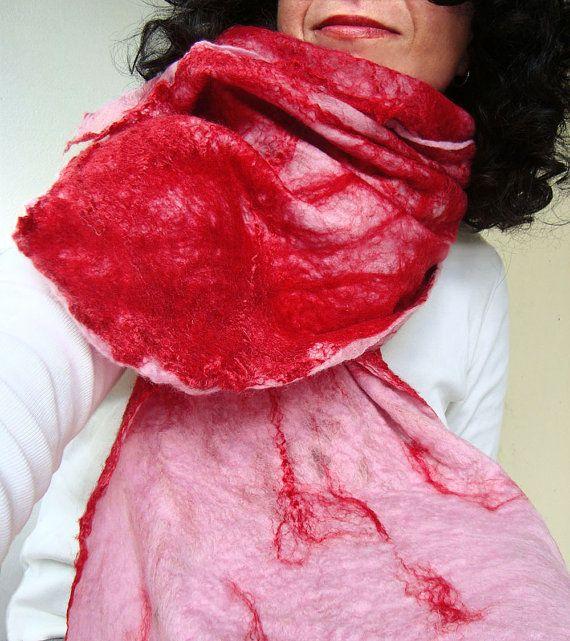 cobweb felted scarf candy crushed by QaraQul on Etsy