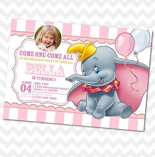 Dumbo Circus Invitation   First Birthday   Baby Shower