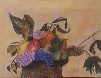 Obstkorb nach Caravaggio, Pastell, 50x60cm