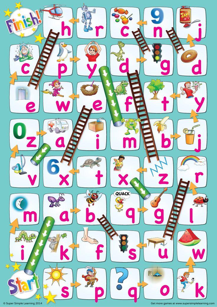 Lowercase Alphabet Chutes & Ladders Game Alphabet games