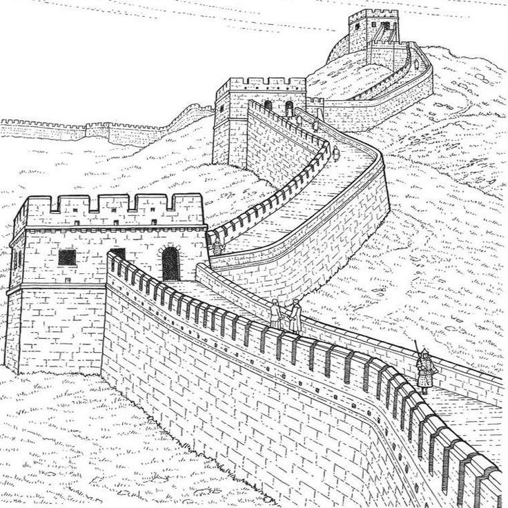 Muraille de chine tour du monde pinterest chine - Coloriage chine ...