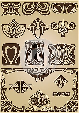 Ornamento do projeto dos elementos e dos cantos de Art Nouveau                                                                                                                                                                                 Mais                                                                                                                                                                                 Mais