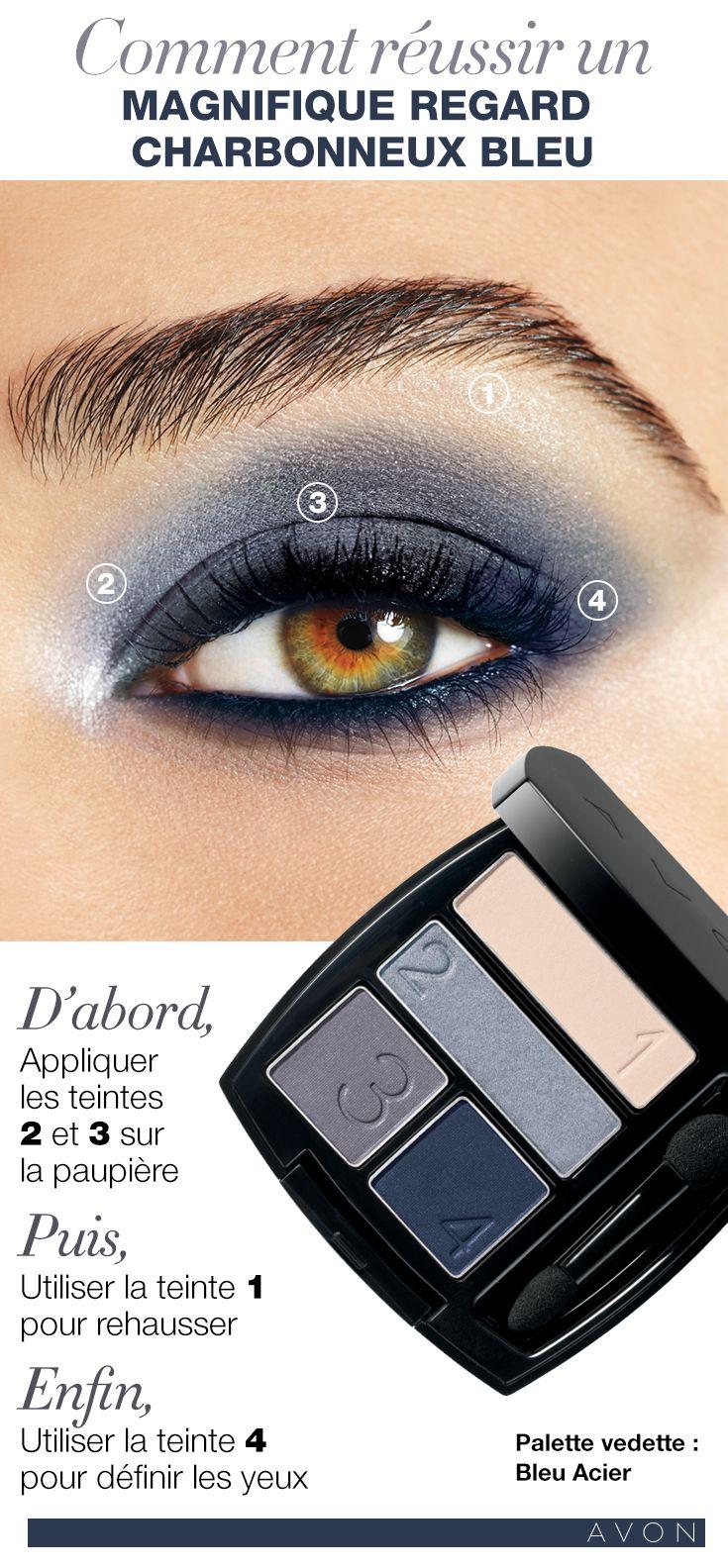 Comment réussier un magnifique regard charbonneux bleu #AvonCanada