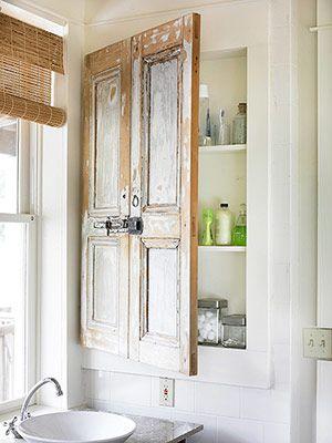 old kitchen cabinet door becomes a bathroom cabinet door ... great!