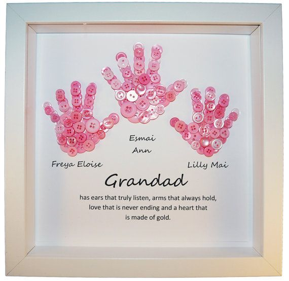 This treasured hand button picture makes the perfect keepsake for any special granddad. You can determine your own button colours and I am happy to incorporate any special requests you may have, (providing there is room to include them). All frames measure approximately 25cm x 25cm. From the date of order, your artwork will take between 1 and 2 weeks to complete. I will send an initial design proof by email which needs to be approved before the artwork is created. Delivery takes an…