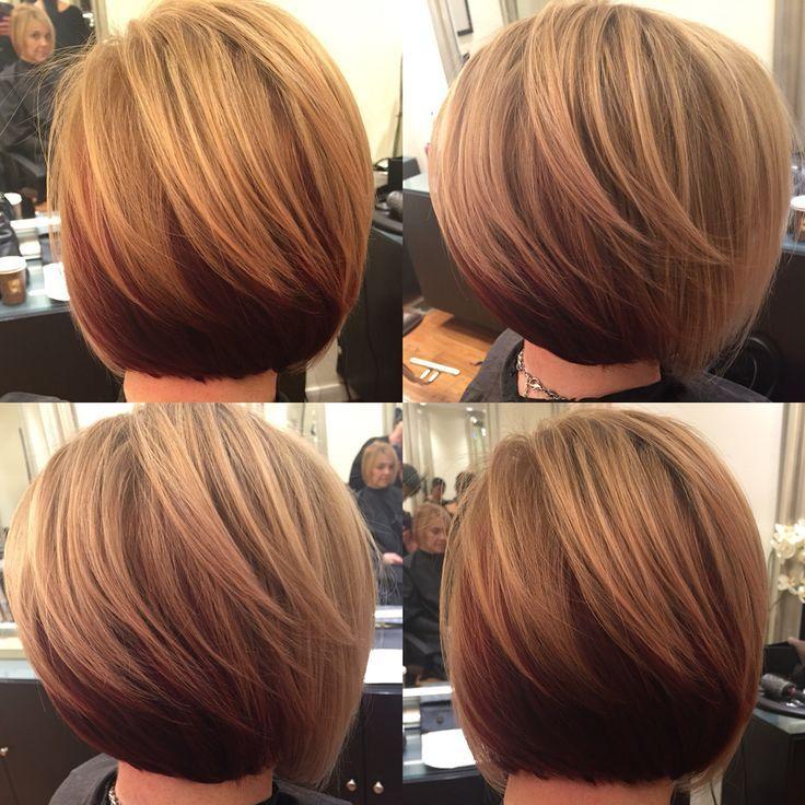 Short slightly stacked bob w/ highlights on dark blonde base w/ reddish brown tone