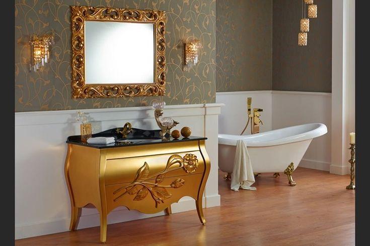 Altın Renk Avangard Banyo Dolabı ve Ayna | 2015 Avangard Ayna Modelleri | avant-garde bathroom vanities and mirrors