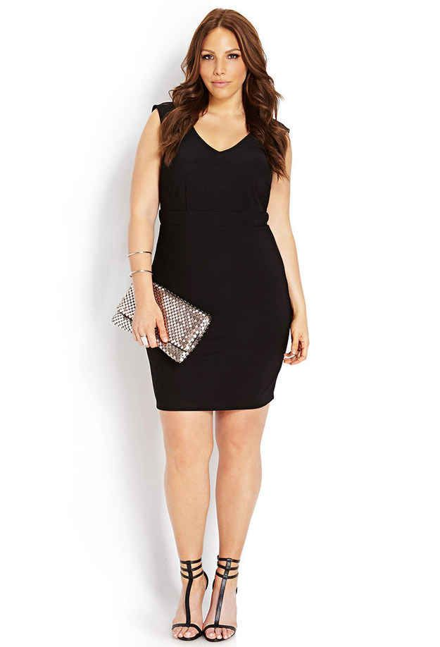 Bombshell V-Neck Dress, $22.80, Forever 21 | 27 Fabulous Plus Size Little Black Dresses Under $50