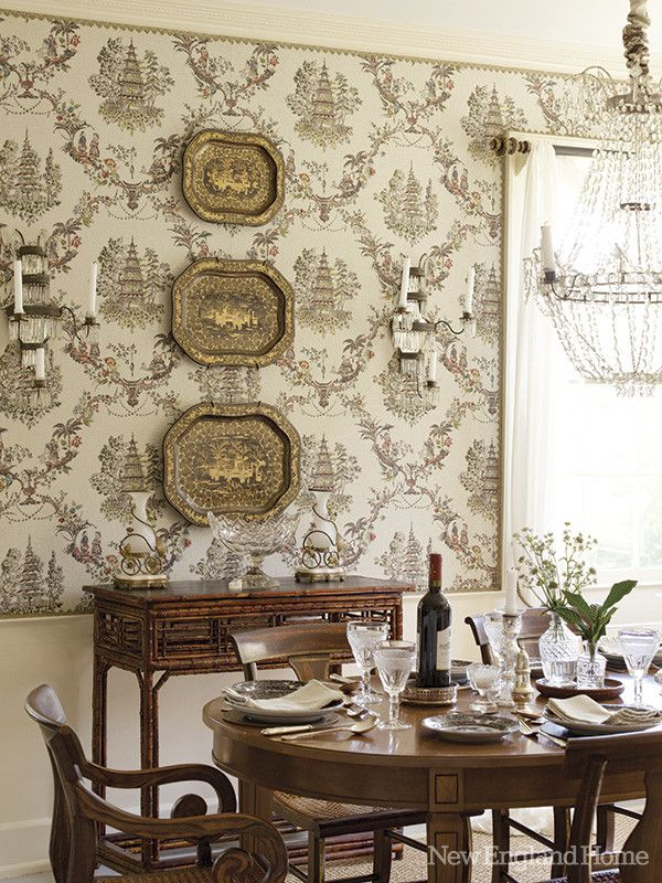 The Dining Room Wrapped In Chinoiserie Fabric Employs No Electric Light Rogers Uses Candles Chandelier And German Crystal Sconces