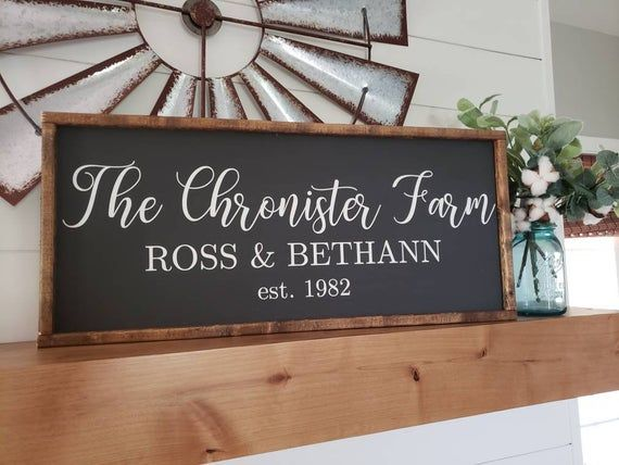 Family Established Sign Last Name Sign Family Sign First Names Sign Black Sign Wood Sign Farmhouse Sign Wedding Gift Anniversary Farmhouse Wood Sign Wood Signs Established Family Signs