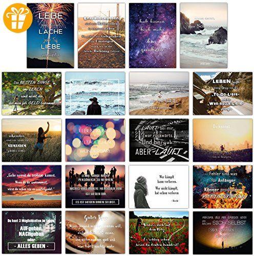 20er Postkarten Set LEBEN mit 20 Sprüchen & Zitaten // Postkarte mit Spruch - Shirts mit spruch (*Partner-Link)