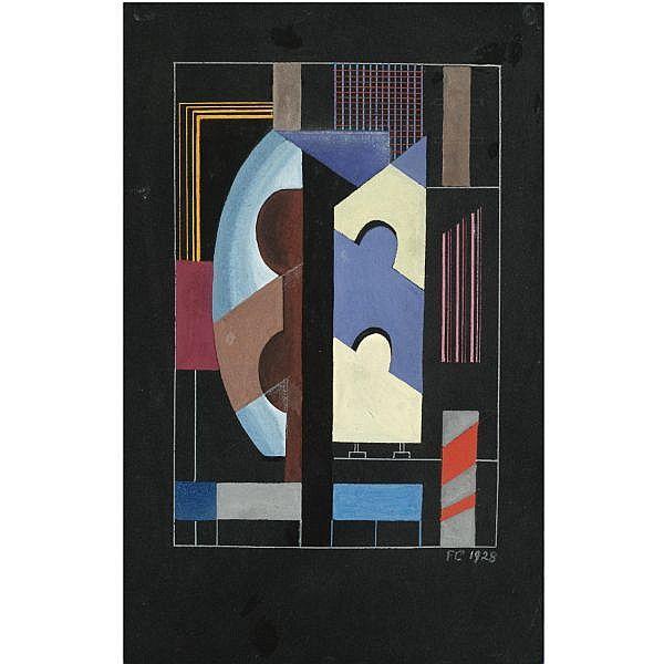 Franciska Clausen , Danish 1899-1986 composition gouache on paper