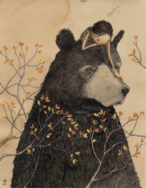 Девочка и медведь картинки, днем учителя