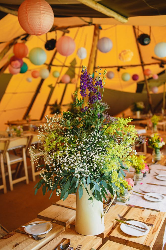 Cream Enamel Pitcher Jug filled with Wild Flowers| Rustic Wedding | Images by John Hope Photography | http://www.rockmywedding.co.uk/jess-adrian/