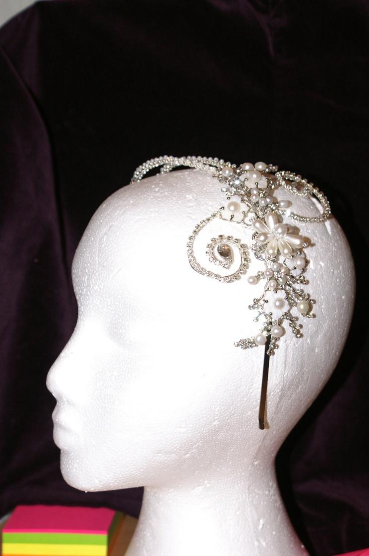 Tiaras wedding side tiara bridal necklace wedding bracelet tiara - Silver Sparkly Side Tiara Vintage Inspired In Ivory Pearl For Bridal Wedding Hair