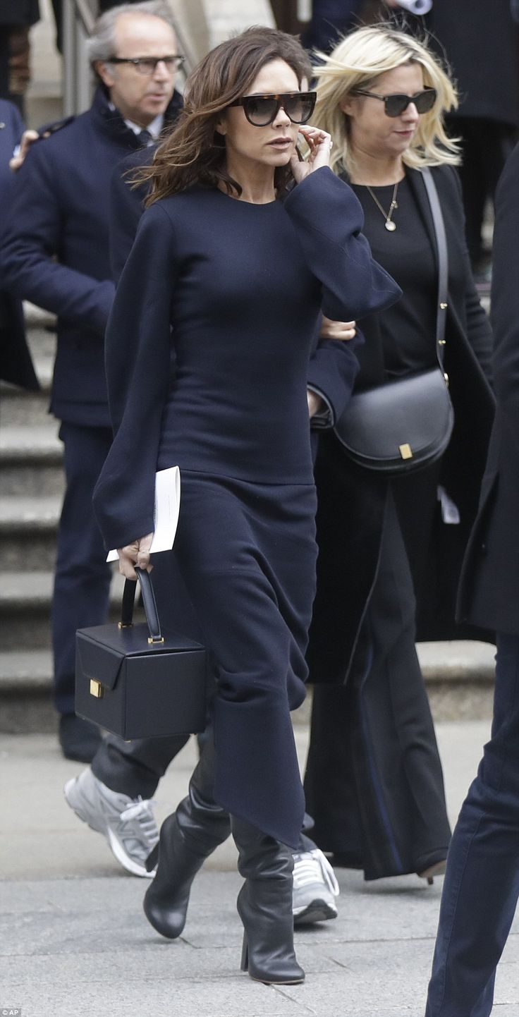 To the wake: The former Spice Girl marched with the rest of the guests to attend the post-...