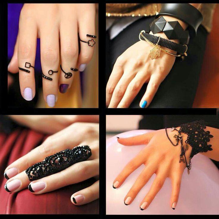 Siyah Eklem Yüzükler ve Takılar Çok Güzel Görünüyor, Değil mi Kızlar? :) www.sosyetikcadde.com ♡