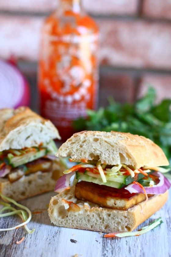 Tofu Banh mi sandwiches. Every time I make these, my spouse asks if we can have them again the next night!