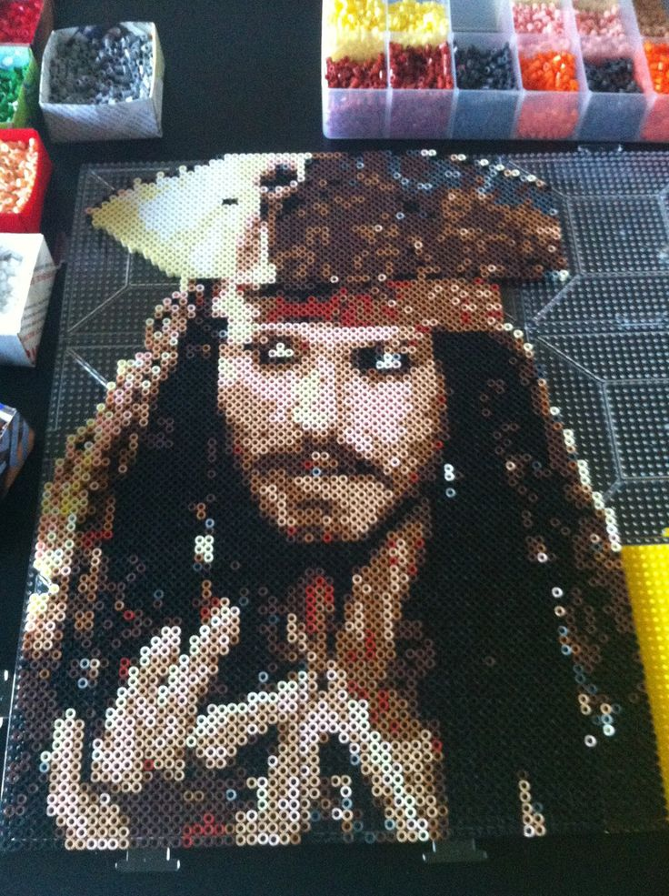 Pirates of the Caribbean Jack Sparrow perler beads by grumkey on deviantart