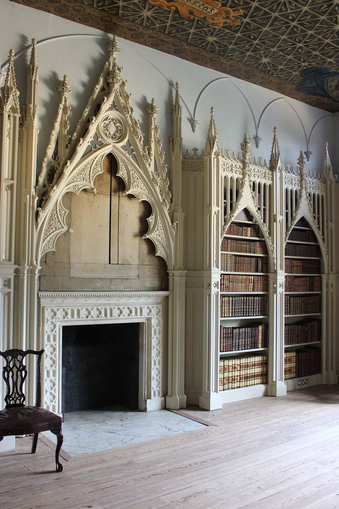 The Library at Strawberry Hill, Twickenham. The house was built between 1749 to 1776 for Horace Walpole with Wiliam Robinson, and later James Essex as executive architects. The design was developed by the 'committee of taste', Richard Bentley, John Chute, and Walpole himself. Some of the interiors were designed by Bentley, Chute, and, in the 1760s, Thomas Pitt (later Lord Camelford), and Robert Adam. The Library was first devised by Bentley and then revised by Chute in 1754. The elaborate…