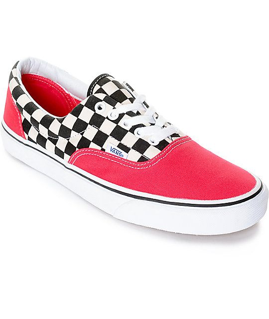 Vans Era 2-Tone Checkered Red   White Skate Shoes  0e45377b3b54