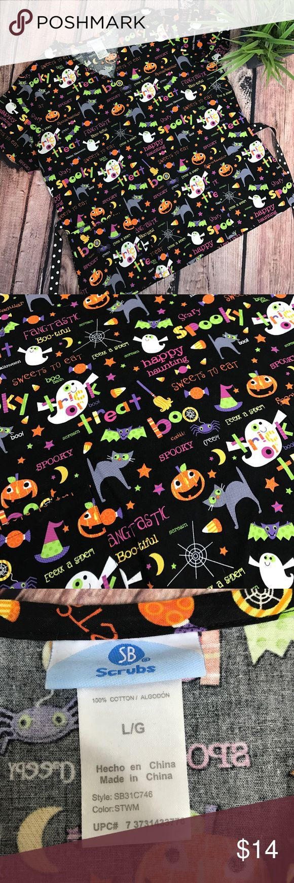 "Halloween Scrubs nursing top Adorable Halloween scrub top with front pockets and polka dot tie back. Size L 100% cotton. 27"" long 24"" across chest. Scrubs Tops"