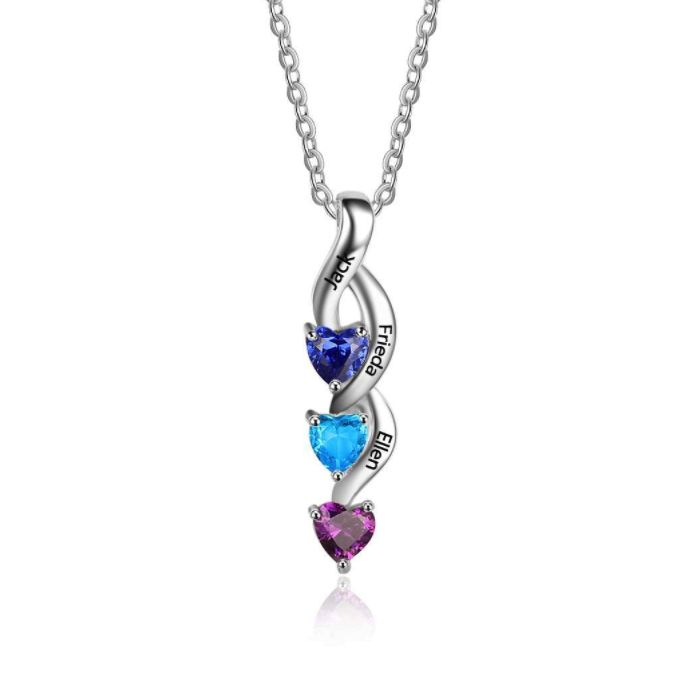 Post Included Aus Wide and to most international countries! >>>  Swirling Hearts Triple Drop Birthstone Necklace - 925 Sterling Silver