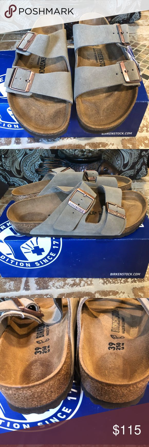 Birkenstock NWT Size 39 L8 M6 Brand new. Original box Arizona Suede Leather Taupe The often imitated, never duplicated, category-defining, two-strap wonder from Birkenstock. A comfort legend and a fashion staple. With adjustable straps and a magical cork footbed that conforms to the shape of your foot, a truly custom fit is as effortless as the classic design. Birkenstock Shoes Sandals