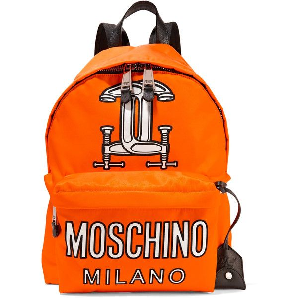 Moschino - Printed Leather-trimmed Shell Backpack ($313) ❤ liked on Polyvore featuring bags, backpacks, bright orange, orange bag, detachable backpack, day pack backpack, moschino backpack and backpack bags