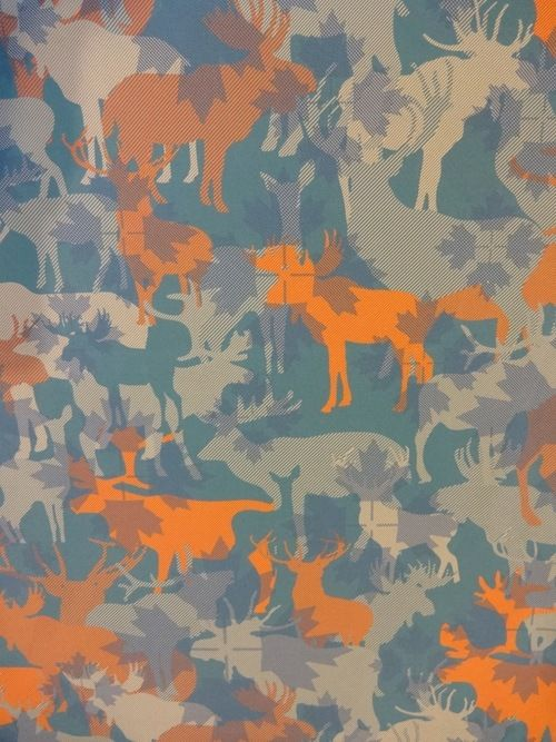 Nature calls at Intertextiles in Shanghai…we love this cool moose camo by Huzhou Boxu.