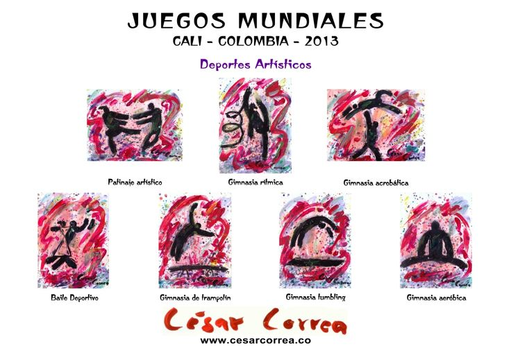 AFICHE JUEGOS MUNDIALES CALI 2013 DEPORTES ARTISTICOS