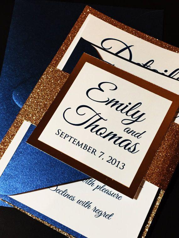 Navy and Gold Glitter Wedding Invitation, Elegant Wedding Invitation - EMILY VERSION