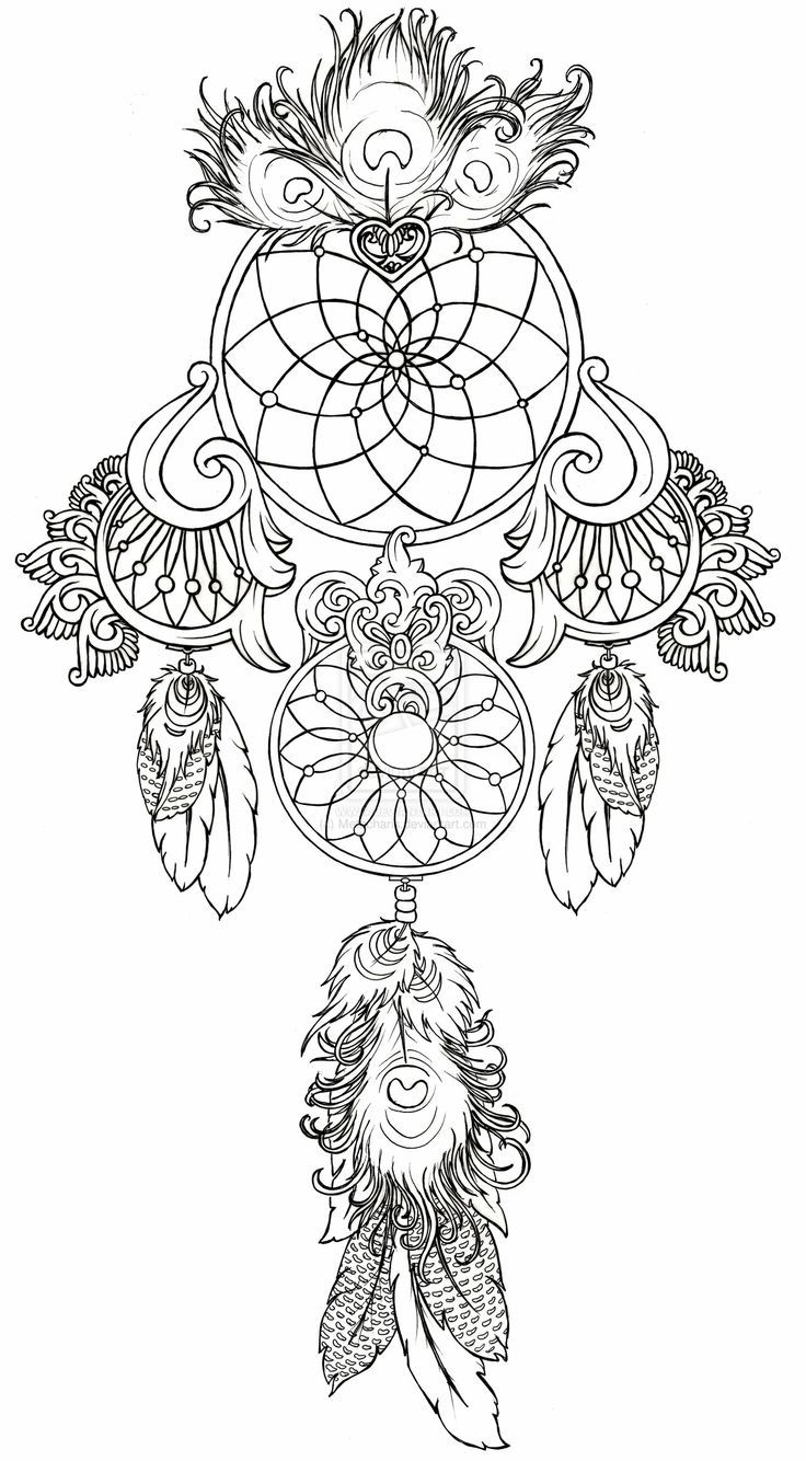 Tattoo Art Coloring Book Ink Designs For Inner Peace - Animal coloring pages dream catchers dream catcher tattoo by metacharis on deviantart