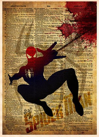#Spider Man, Justice League, Vintage pop art print, Retro Super Hero Art, Dictionary print art