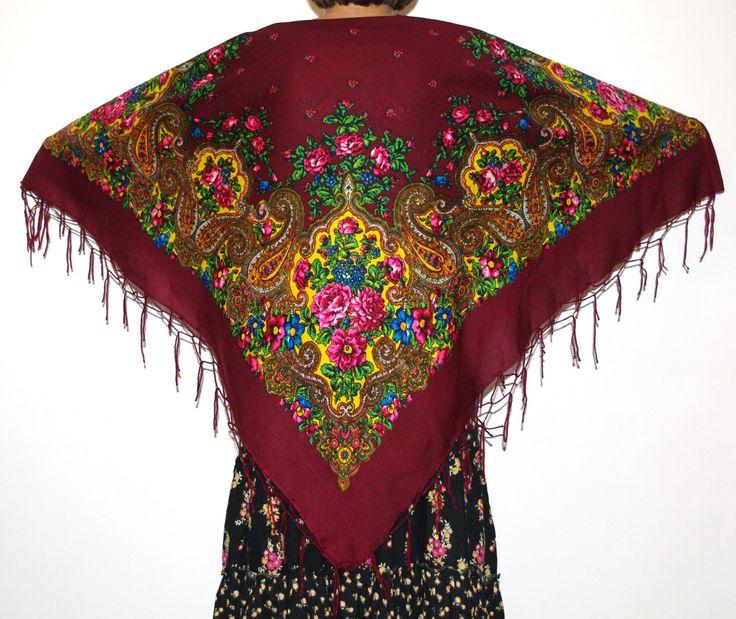 Huge shawl with fringes Pavlovo Posad Brown Maroon Vintage Russian Shawl Ukrainian Shawl Traditional Slavic floral ornaments Polish shawl by VintagePolkaShop on Etsy