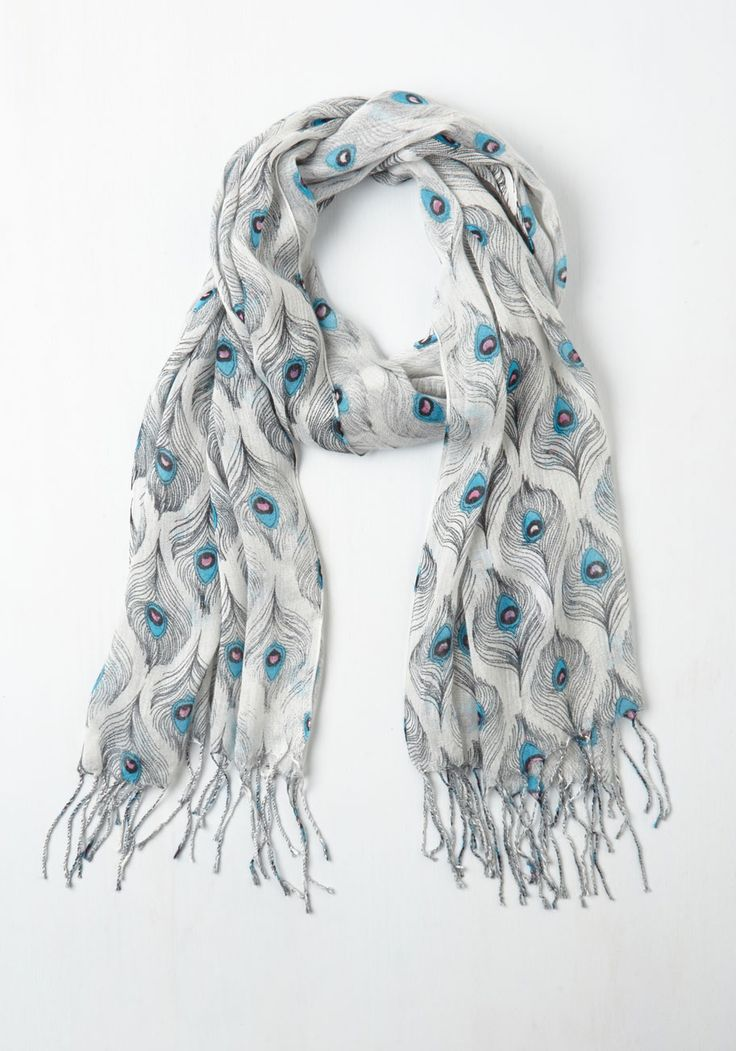 All Eyes on Me Scarf in Mist. When you step into the party sporting this printed scarf, your enigmatic, stylish presence will surely illuminate the room. #blue #modcloth