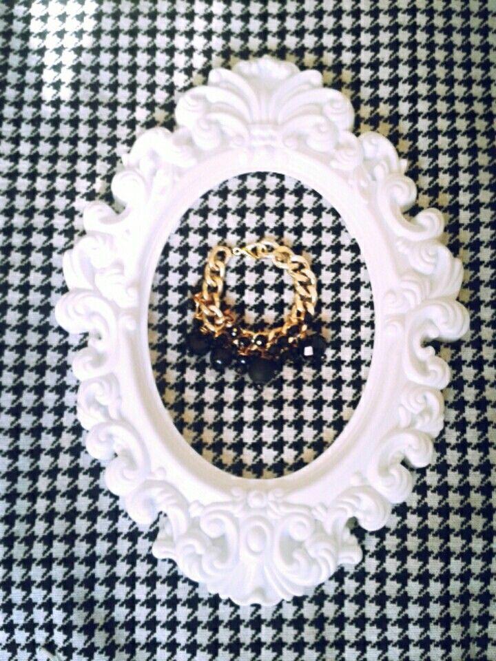 Bracciale catena e perle nere