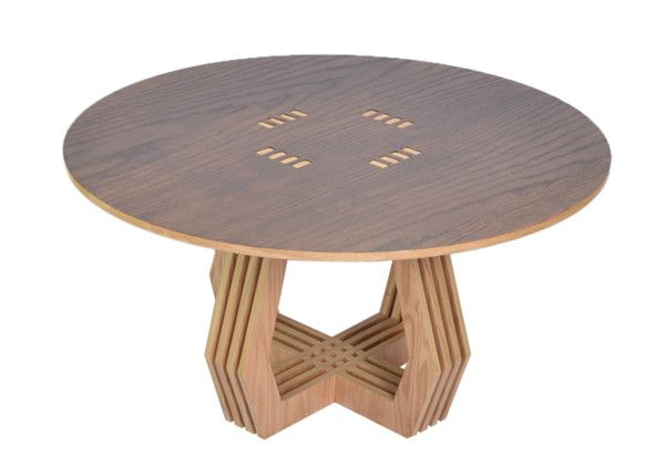 AVO Studio's new pieces - natural oak veneer with a satin finish that doesn't require any tools for assembly. TRAMA is a coffee table and side table, both with intersected serial planes inspired by handmade Mexican textiles. Can be easily taken apart or put together.