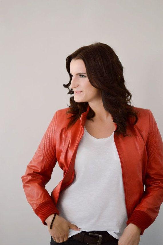 Vintage red leather jacket men women unisex von MightyVintage, €180.00