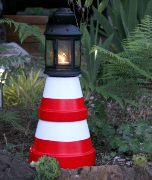 DIY Clay Pot Lighthouse: http://www.completely-coastal.com/2016/05/diy-lighthouses-how-to-make-lighthouse-cardboard-plastic-bottle-etc.html A guiding light along your path!