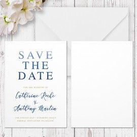 Blue Ombre Watercolour Wedding Save The Date Card, Navy and Gold, Professionally Printed, Peach Perfect Australia