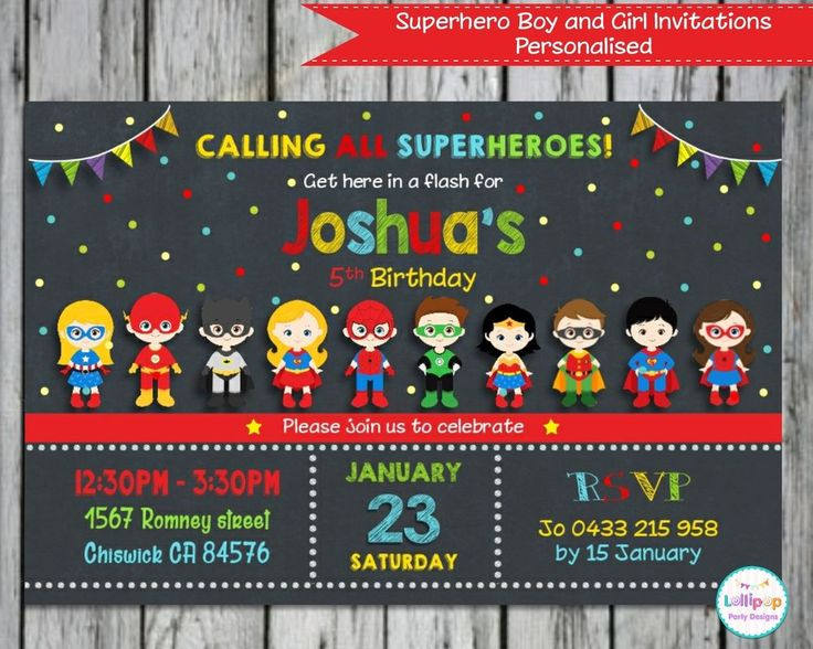 Superheroes Boys and Girls - Personalised Invitations - Printed or Digital - Ship Worldwide!  Visit www.lollipoppartysupplies.com.au