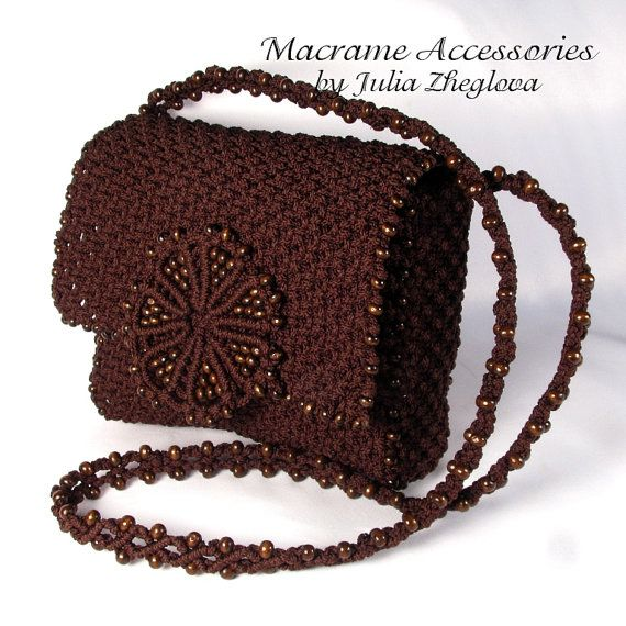Macrame Bag Taste Of Chocolate brown braided macrame by makrame, $125.00
