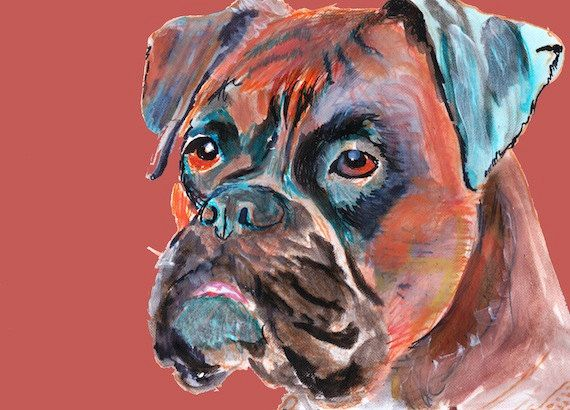 Boxer Dog canvas print - Orange Brindle Aquamarine abstract signed boxer painting dog gift idea by OjsDogPaintings: 26.31… #dogs #etsy #art