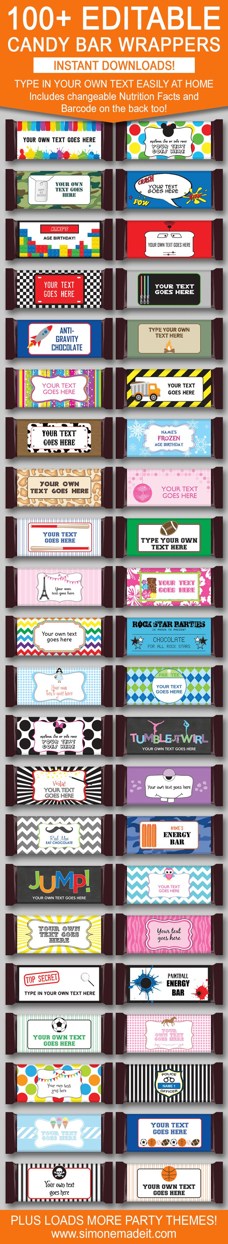 DIY Candy Bar Wrapper Templates | Birthday Party Favors | 1.55oz Hershey Candy Bars | Personalized Candy Bar Wrappers | Chocolate Bar Labels | INSTANT DOWNLOAD $3.00 via simonemadeit.com