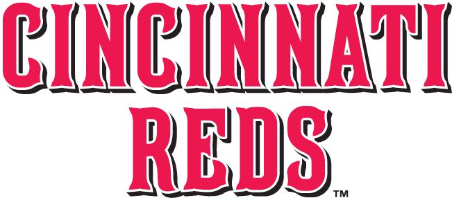 Cincinnati Reds Wordmark Logo (2007) - Cincinnati over Reds in red with white outline and black shadow